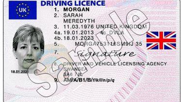英国驾驶执照展示联盟国旗