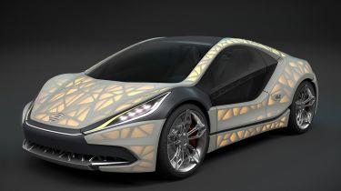 3D印刷的织物覆盖的跑车设置为日内瓦